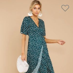 Whispering Perfection Teal Midi Wrap Dress in Teal